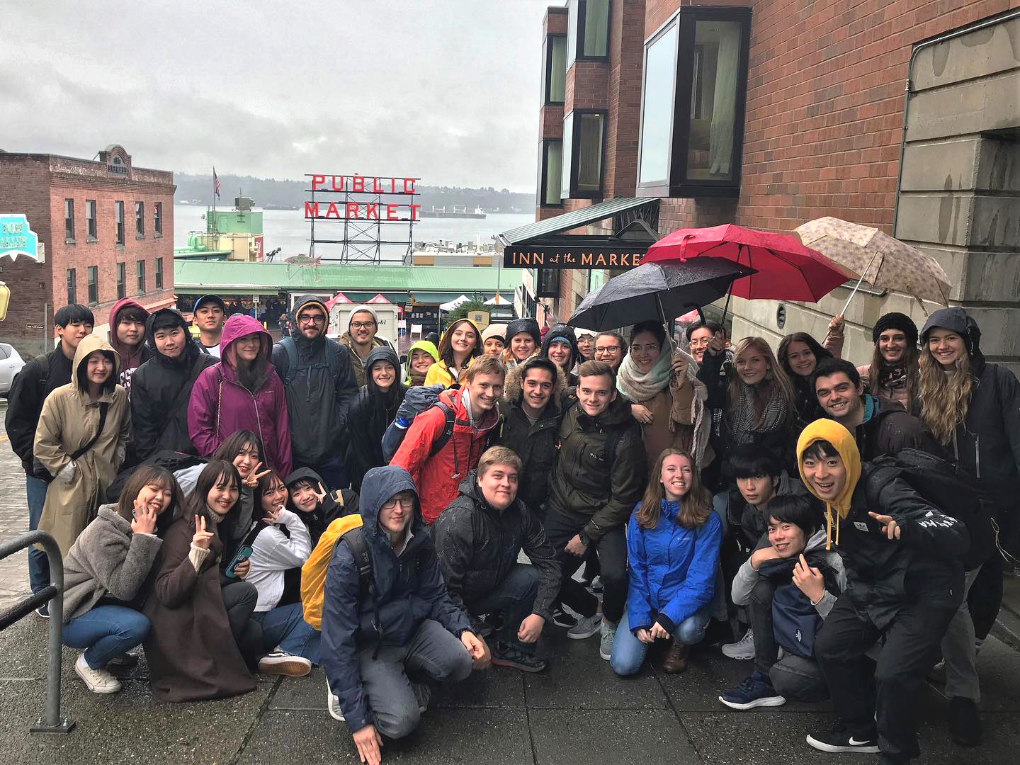 group of international student in Seattle